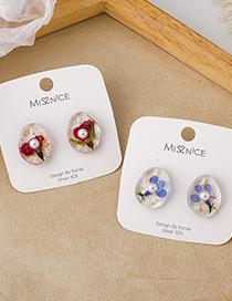Fashion Blue Pearl Dried Flower Transparent Earrings