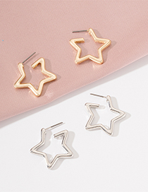 Fashion Silver Color Star Alloy Stud Earrings