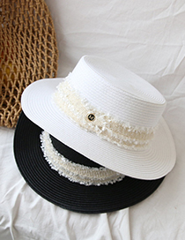 Fashion White Flat Top M Letter Sunscreen Straw Hat