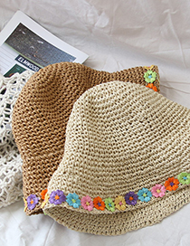 Fashion Beige Colorful Flower Straw Hat Foldable