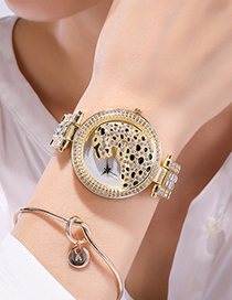 Fashion Between Gold Color Leopard Full Diamond British Steel Band Watch