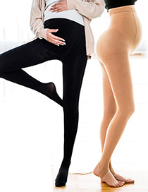 Fashion Black With Feet (thin Section) Adjustable Anti-snaking Pantyhose For Pregnant Women