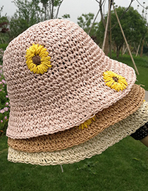 Fashion Khaki Childrens Small Chrysanthemum Sunscreen Hand-woven Straw Hat