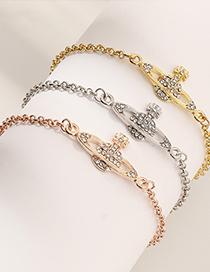Fashion White Gold Textured Saturn Diamond Planet Bracelet