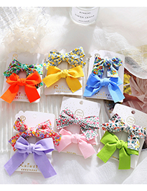 Fashion Pink Two-piece Floral Bow Hairpin Set