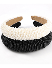 Fashion White Imitation Pearl Wide Side Sponge Headband