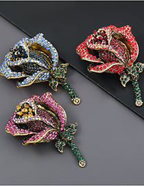 Fashion Red Alloy Rose Brooch With Diamonds