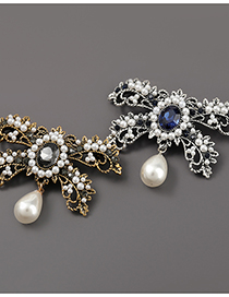 Fashion Golden Alloy Diamond Pearl Butterfly Brooch