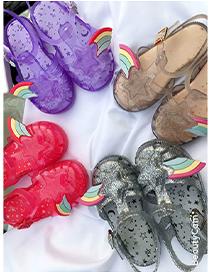 Fashion Silver Color Star Rainbow Baotou Hollow Childrens Sandals