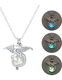 Fashion Blue-green Luminous Flying Dragon Animal Necklace
