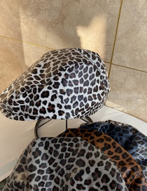 Fashion Beige Leopard Print Flat Top Beret