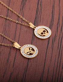 Fashion Section 1 Zircon Inlaid Stainless Steel Skull Necklace