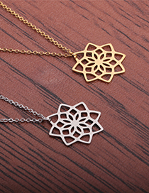 Fashion Gold Color Lotus Stainless Steel Cut Hollow Lotus Necklace
