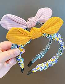 Fashion Taro Purple Bowknot Plaid Floral Childrens Headband