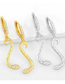 Fashion Gold Color Serpentine Earrings With Zircon