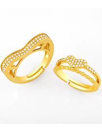 Fashion A Love Double Zircon Open Ring