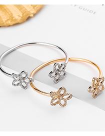 Fashion Gold Color Geometric Hollow Plum Blossom Diamond Bracelet