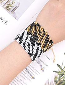 Fashion Gold Color Rice Bead Woven Black And White Wide Bracelet
