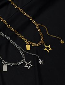 Fashion Steel Color Square Brand Titanium Steel Tassel Five-pointed Star Necklace