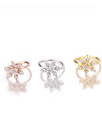 Fashion Silver Zircon Snowflake Piercing Adjustable Open Earrings