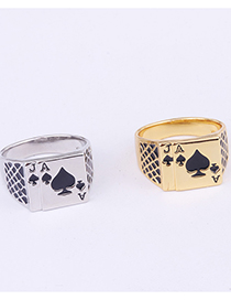 Fashion Black Playing Cards Dripping Oil Ring