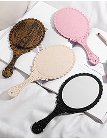 Fashion Pink Patterned Handle Vanity Mirror