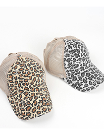 Fashion Brown Leopard Print Open Cross Ripped Baseball Cap