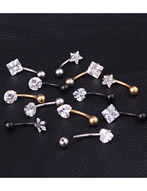 Fashion Square Golden Peach Heart Five-pointed Star Square Round Stainless Steel Zircon Belly Button Nail