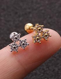 Fashion Silver Flower Zircon Stainless Steel Thread Earrings