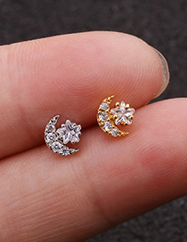 Fashion Silver Stainless Steel Zircon Star And Moon Screw Earrings