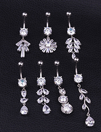 Fashion D Section Stainless Steel Pierced Zircon Leaf Belly Button Nail