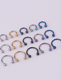 Fashion 5 Spherical C-rings Mixed Colors Stainless Steel Piercing Ball C-shaped Nose Ring