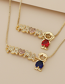 Fashion Navy Copper Inlaid Zircon Letters Mama Boy Necklace