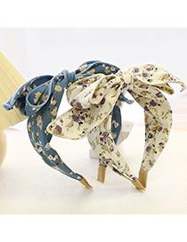 Fashion Blue Printed Bow Headband