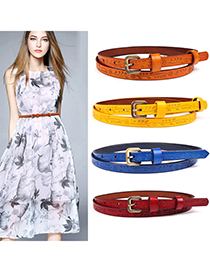Fashion Dark Red Thin Belt With Printed Gold Buckle