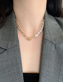 Fashion Titanium Steel Necklace Stainless Steel Chain Pearl Stitching Double Circle Necklace