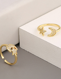 Fashion A Golden Moon Star Micro Inlay Ring