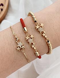 Pulsera Estrella De Circonitas Con Incrustaciones De Cobre