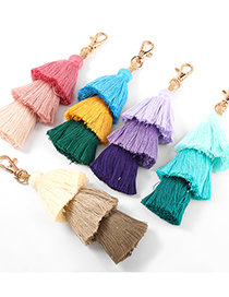 Fashion Blue Alloy Multi-layer Color Matching Cotton Thread Tassel Pendant