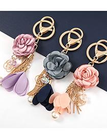 Fashion Blue-gray Alloy Fabric Flower Pearl Pendant
