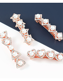 Fashion Love Alloy Diamond And Pearl Geometric Hairpin
