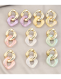 Fashion Golden Acrylic Contrast Stitching Chain Earrings
