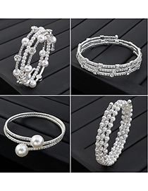Fashion Section 6 Rhinestone Pearl Multilayer Bracelet