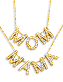Fashion B Mama Letter Necklace With Diamonds