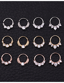 Fashion Silver 1# Puncture Zircon Nose Ring