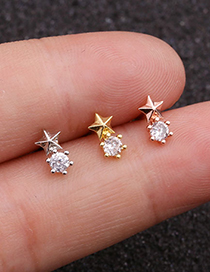 Fashion Silver Mini Five-pointed Star Earrings