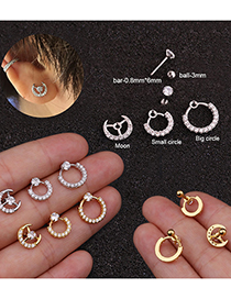 Fashion Silver Moon Piercing And Twisting Ball Thin Rod Stainless Steel Earrings