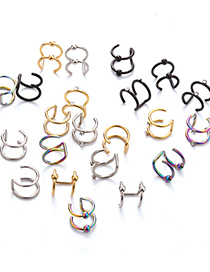 Fashion Golden Rhinestone Non-pierced Stainless Steel Double C Cartilage Piercing Jewelry