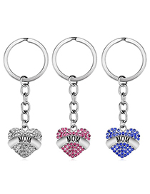 Fashion Blue Stainless Steel Letter Mom Keychain