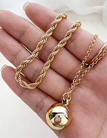 Fashion Golden Alloy Chain Double Round Bead Necklace